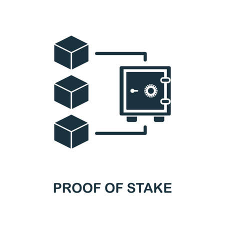 Proof Of Stake icon. Monochrome style design from blockchain collection. UX and UI. Pixel perfect proof of stake icon. For web design, apps, software, printing usage. 矢量图像
