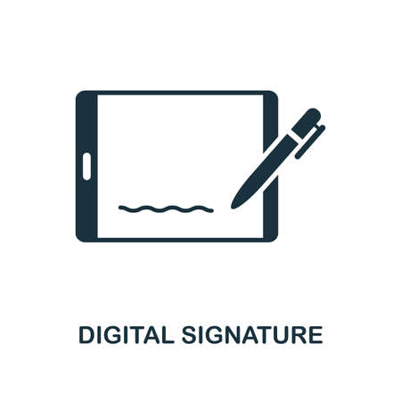 Digital Signature icon. Monochrome style design from blockchain collection. UX and UI. Pixel perfect digital signature icon. For web design, apps, software, printing usage.
