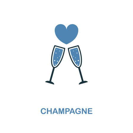 Champagne icon in two color design. Simple element illustration. Champagne creative icon from honeymoon collection. For web design, apps and printing.