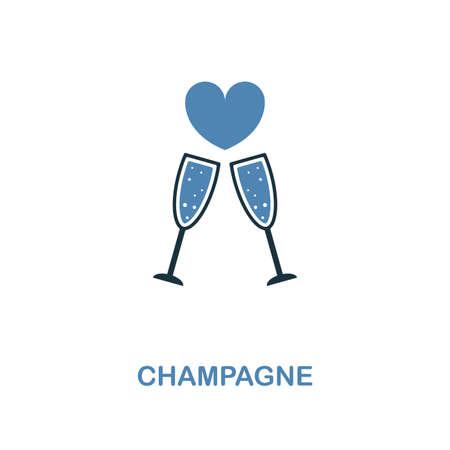 Icône de champagne dans la conception de deux couleurs. Illustration d'élément simple. Icône créative Champagne de la collection lune de miel. Pour la conception Web, les applications et l'impression.