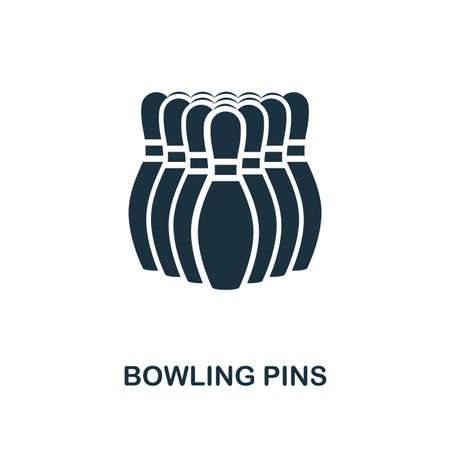 Bowling Pins icon. Monochrome style design from bowling collection. UX and UI. Pixel perfect bowling pins icon. For web design, apps, software, printing usage.
