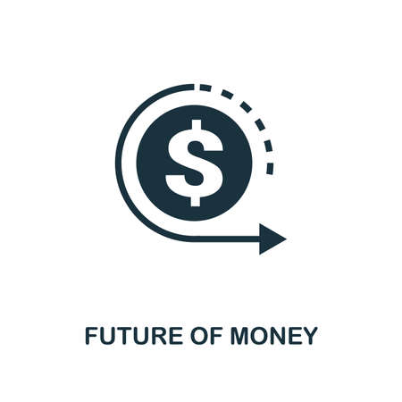 Future Of Money icon. Monochrome style design from fintech collection. UX and UI. Pixel perfect future of money icon. For web design, apps, software, printing usage. Illustration