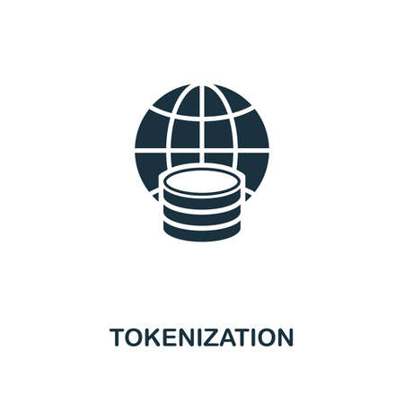 Tokenization icon. Monochrome style design from fintech collection. UX and UI. Pixel perfect tokenization icon. For web design, apps, software, printing usage. Stock Photo