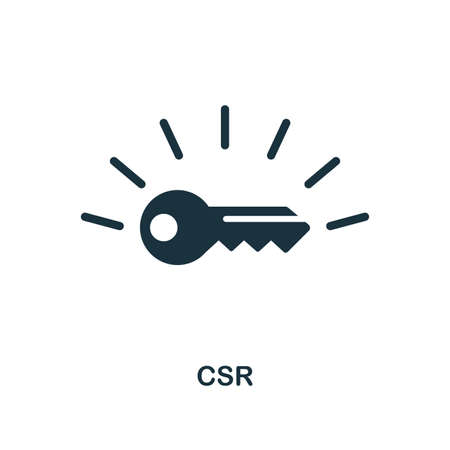 CSR icon. Monochrome style design from business ethics icon collection. UI and UX. Pixel perfect csr icon. For web design, apps, software, print usage.