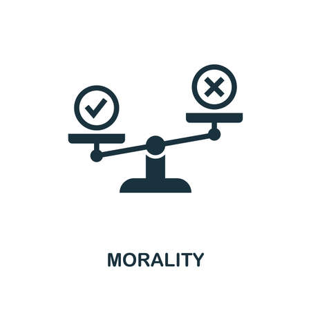 Morality icon. Monochrome style design from business ethics icon collection. UI and UX. Pixel perfect morality icon. For web design, apps, software, print usage.