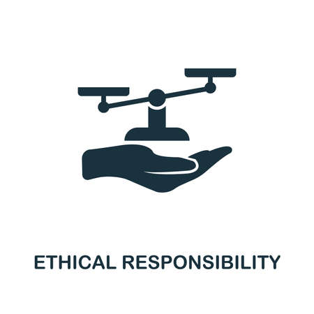 Ethical Responsibility icon. Monochrome style design from business ethics icon collection. UI and UX. Pixel perfect ethical responsibility icon. For web design, apps, software, print usage.
