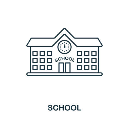 School outline icon. Creative design from school icon collection. Premium school outline icon. For web design, apps, software and printing. Иллюстрация