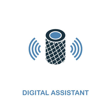 Icona di assistente digitale in due colori design. Stile premium dalla collezione di icone di dispositivi intelligenti. UI e UX. Illustrazione dell'icona di assistente digitale. Per web design, app, software e stampa.