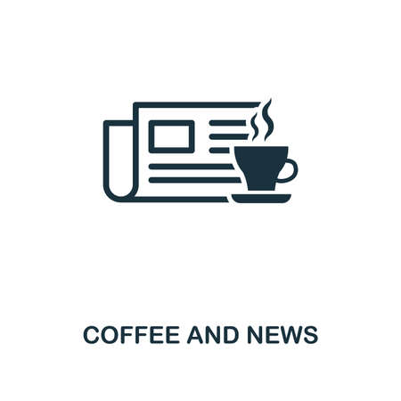 Coffee And News icon. Premium style design from coffe shop collection. UX and UI. Pixel perfect coffee and news icon. For web design, apps, software, printing usage. Vectores