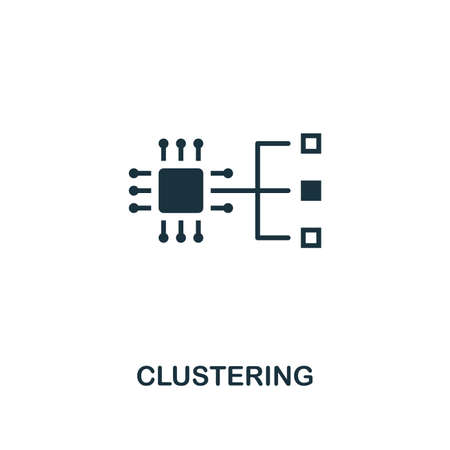 Clustering icon. Premium style design from artificial intelligence collection. UX and UI. Pixel perfect clustering icon. For web design, apps, software, printing usage.