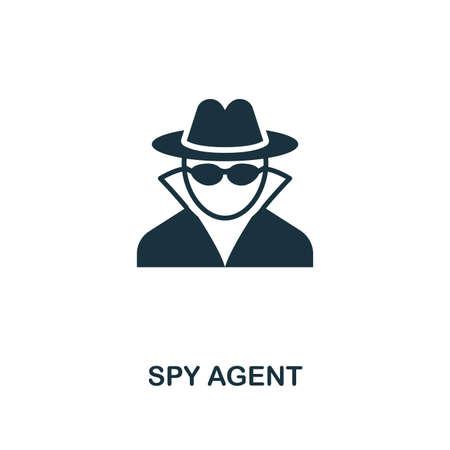 Icône de l'agent espion. Design de style premium de la collection de sécurité. UX et UI. Icône d'agent espion pixel parfait pour la conception Web, les applications, les logiciels, l'utilisation de l'impression. Vecteurs