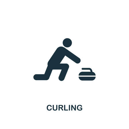 Curling icon. Premium style design from winter sports collection. UX and UI. Pixel perfect curling icon for web design, apps, software, printing usage. Çizim