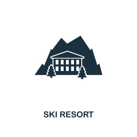 Ski Resort icon. Premium style design from winter sports collection. UX and UI. Pixel perfect ski resort icon for web design, apps, software, printing usage. Ilustracja