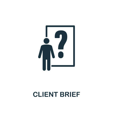 Client Brief icon. Premium style design from advertising collection. UX and UI. Pixel perfect client brief icon for web design, apps, software, printing usage.