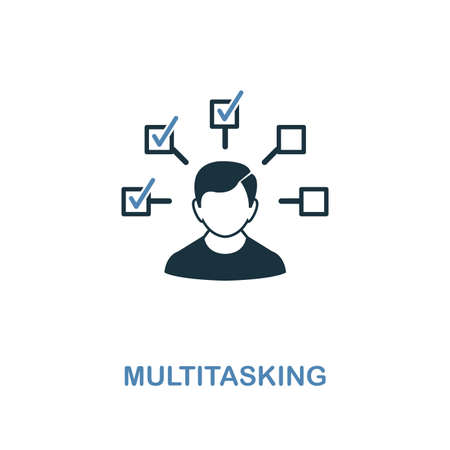 Multitasking icon. Two colors premium design from management icons collection. Pixel perfect simple pictogram multitasking icon. UX and UI usage. Vectores