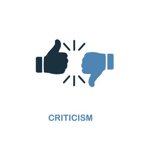 Kritik-Symbol. Zweifarbiges Premium-Design aus der Sammlung von Management-Symbolen. Pixel perfektes einfaches Piktogramm-Kritiksymbol. UX- und UI-Nutzung. Vektorgrafik