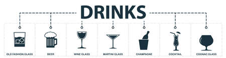 Drinks set icons collection. Includes simple elements such as glass, whiskey glass, beer, wine glass, martini, cognac glass, champagne premium icons.
