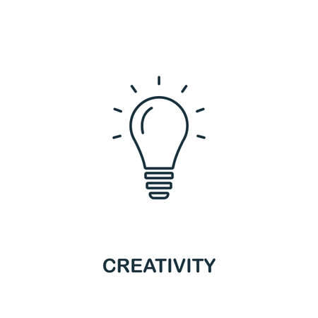 Creativity icon. Outline style thin design from business icons collection. Pixel perfect simple pictogram creativity icon for UX and UI