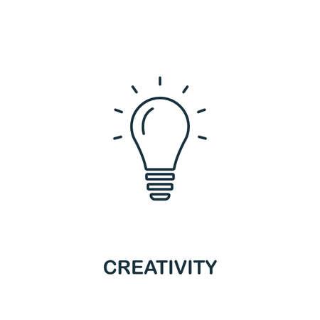 Icono de creatividad. Diseño fino de estilo de contorno de colección de iconos de negocios. Pixel perfect pictograma simple icono de creatividad para UX y UI