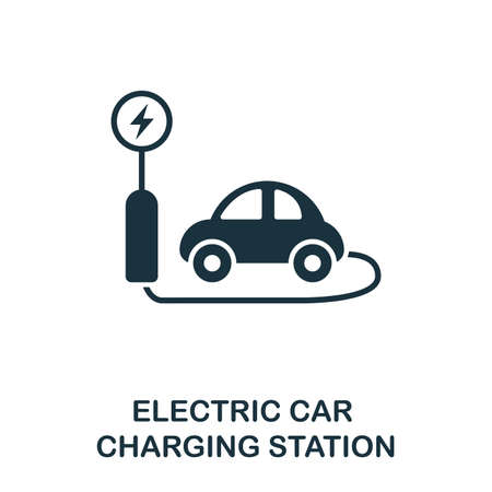 Electric Car Charging Station icon. Premium style design from public transport icon collection. UI and UX. Pixel perfect Electric Car Charging Station icon for web design, apps, software, print usage. Ilustração Vetorial