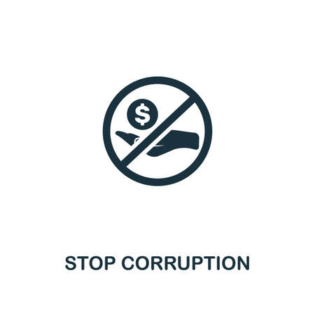 Stop Corruption icon. Premium style design from corruption icon collection. Pixel perfect Stop Corruption icon for web design, apps, software, print usage Stock Photo