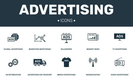 Advertising set icons collection. Includes simple elements such as Marketing, Billboards, Merch, Ad Optimization premium icons.