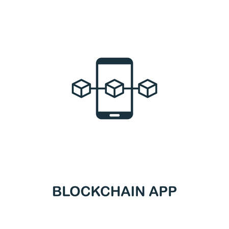 Blockchain App outline icon. Thin line style design from blockchain collection. Creative blockchain app icon for web design, apps, software, printing usage. Stock Photo