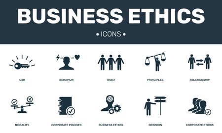 L'éthique des affaires a défini la collection d'icônes. Comprend des éléments simples tels que les icônes premium RSE, Comportement, Confiance, Principes et Moralité.