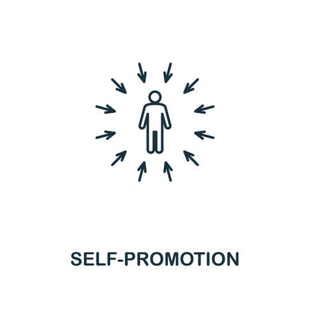 Self-Promotion icon. Thin outline creativeSelf-Promotion design from soft skills collection. Web design, apps, software and print usage.