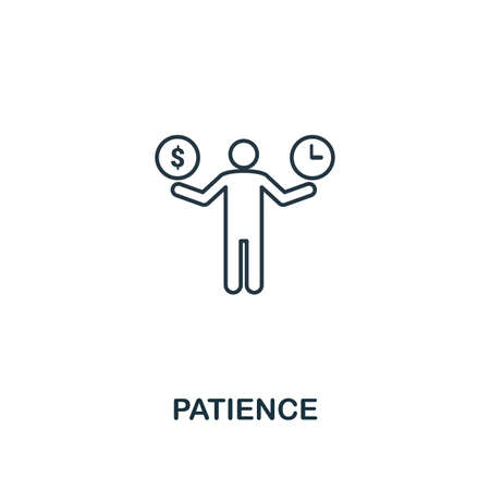 Patience icon. Thin outline creativePatience design from soft skills collection. Web design, apps, software and print usage. Stock Photo