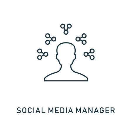 Social Media Manager outline icon. Thin style design from smm icons collection. Pixel perfect symbol of social media manager icon. Web design, apps, software, print usage.