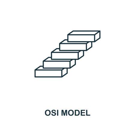 Icône de contour du modèle Osi. Collection d'icônes de l'industrie 4.0 de style de ligne mince. UI et UX. Icône de modèle osi parfaite de pixel pour la conception Web, les applications, l'utilisation de logiciels.