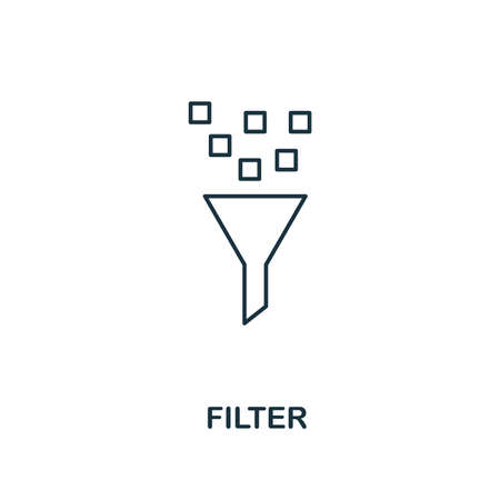 Filter outline icon. Thin line style from big data icons collection. Pixel perfect simple element filter icon for web design, apps, software, print usage
