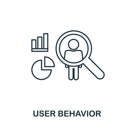 Icona di contorno del comportamento dell'utente. Stile di linea sottile dalla raccolta di icone di big data. Pixel perfetto elemento semplice icona del comportamento dell'utente per web design, app, software, utilizzo della stampa