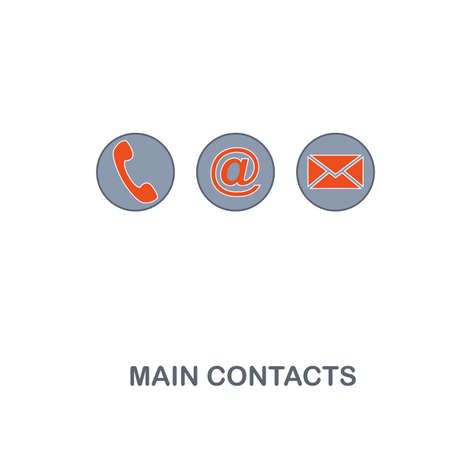 Main Contacts icon. Premium two colors style design from contact us collection. Pixel perfect main contacts icon for web design, apps, software, printing usage. Ilustração