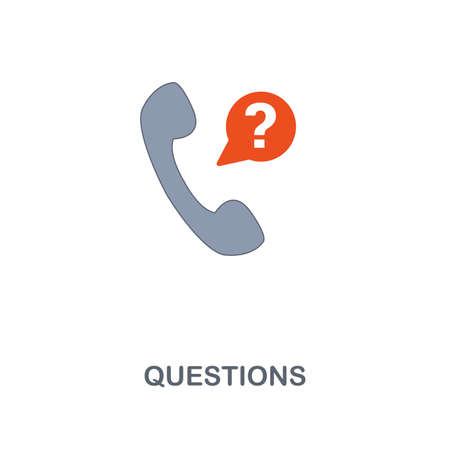 Questions icon. Premium two colors style design from contact us collection. Pixel perfect questions icon for web design, apps, software, printing usage. Illustration