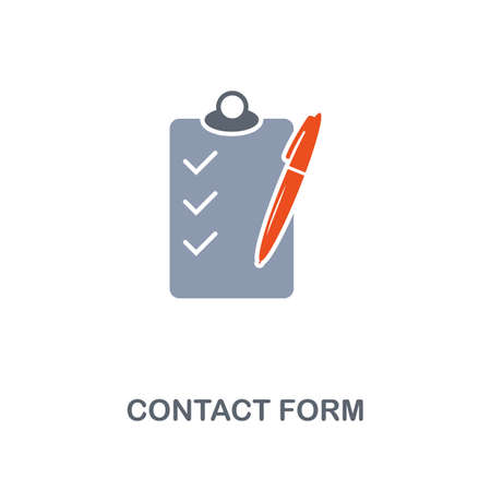 Contact Form icon. Premium two colors style design from contact us collection. Pixel perfect contact form icon for web design, apps, software, printing usage. Banque d'images - 124982455