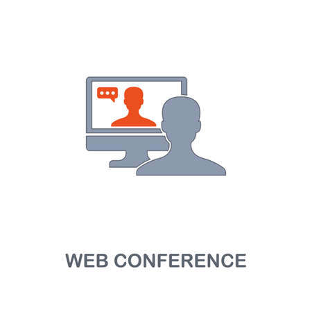 Web Conference icon. Premium two colors style design from contact us collection. Pixel perfect web conference icon for web design, apps, software, printing usage.