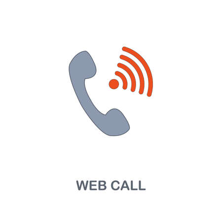 Web Call icon. Premium two colors style design from contact us collection. Pixel perfect web call icon for web design, apps, software, printing usage.
