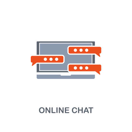 Online Chat icon. Premium two colors style design from contact us collection. Pixel perfect online chat icon for web design, apps, software, printing usage.