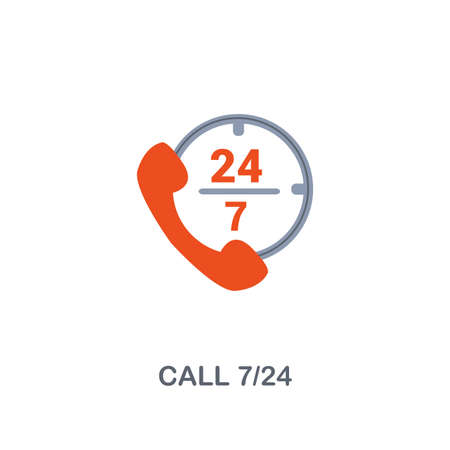 Call 7 24 icon. Premium two colors style design from contact us collection. Pixel perfect call 7 24 icon for web design, apps, software, printing usage.
