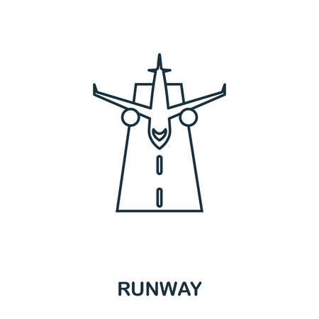 Runway icon. Outline thin line style from airport icons collection. Pixel perfect Runway icon for web design, apps, software, print usage