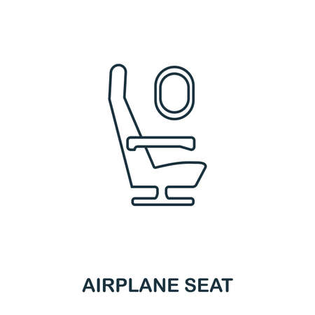 Airplane Seat icon. Outline thin line style from airport icons collection. Pixel perfect Airplane Seat icon for web design, apps, software, print usage.