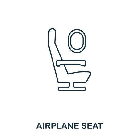 Icône de siège d'avion. Décrire le style de ligne mince de la collection d'icônes de l'aéroport. Icône Pixel Perfect Airplane Seat pour la conception Web, les applications, les logiciels, l'utilisation de l'impression.
