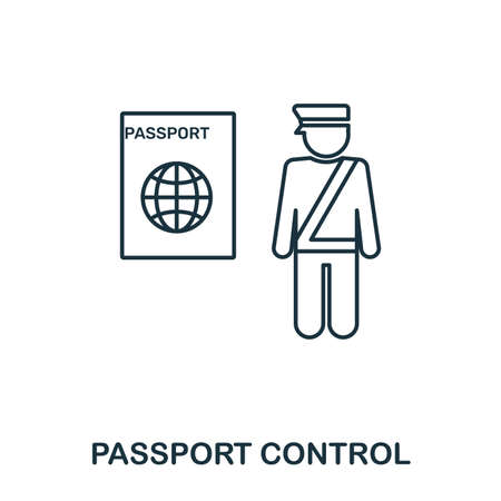 Passport Control icon. Outline thin line style from airport icons collection. Pixel perfect Passport Control icon for web design, apps, software, print usage.