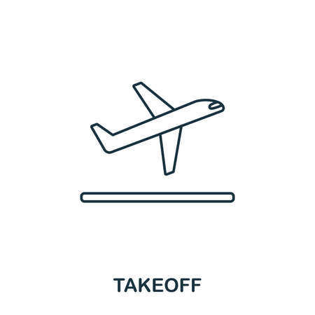 Takeoff icon. Outline thin line style from airport icons collection. Pixel perfect Takeoff icon for web design, apps, software, print usage.