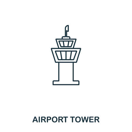 Airport Tower icon. Outline thin line style from airport icons collection. Pixel perfect Airport Tower icon for web design, apps, software, print usage. Stock Illustratie