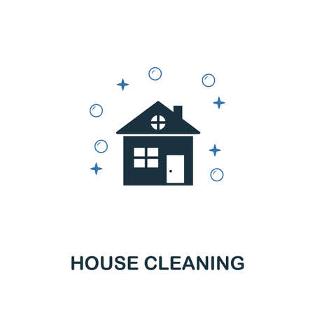 House Cleaning icon. Creative two colors design from cleaning icons collection. UI and UX usage. Illustration of house cleaning icon. Pictogram isolated on white Иллюстрация