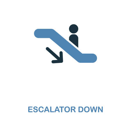 Escalator Down icon. Monochrome style design from shopping center sign icon collection. UI. Pixel perfect simple pictogram escalator down icon. Web design, apps, software, print usage.