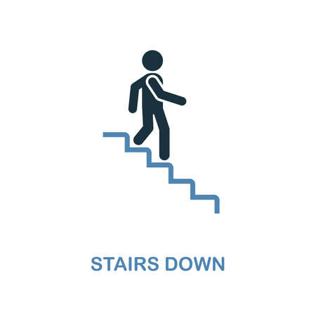 Stairs Down icon. Monochrome style design from shopping center sign collection. UI. Pixel perfect simple pictogram stairs down icon. Web design, apps, software, print usage.